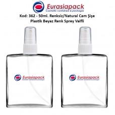 Plastik Spreyli Cam Parfüm Şişesi Kod: 362 - 50ml.
