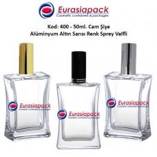 Alüminyum Spreyli İnce Belli Köşeli Cam Parfüm Şişesi Kod: 400 - 50ml.