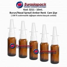 Burun Spreyli Amber Renk Cam Şişe 10ml Kod: 3211