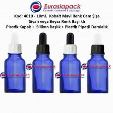 Plastik Pipetli Damlalıklı Kobalt Mavi Cam Şişe 10ml - Kod 4010