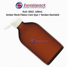 Yandan Damlalıklı Flakon Amber Cam Şişe 100ml Kod 3022