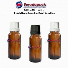 Fırçalı Kapaklı Cam Şişe 10ml Amber Kod 3211