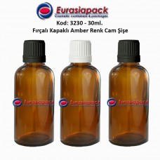 Fırçalı Kapaklı Cam Şişe 30ml Amber Kod 3230
