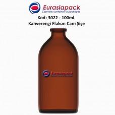 Flakon Cam Şişe Amber Renk 100 ml. Kod: 3022