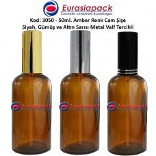 Sprey Valfli İlaç Şişesi 50ml Alüminyum Valfli Amber Şişe 3050