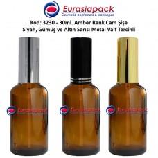 Sprey Valfli İlaç Şişesi 30ml Alüminyum Valfli Amber Şişe 3230