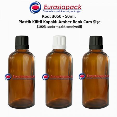 Kilitli Kapaklı Cam Amber İlaç Şişesi 50ml. Kod 3050