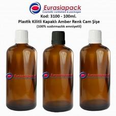 Kilitli Kapaklı Cam Amber İlaç Şişesi 100ml. Kod 3100
