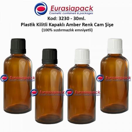 Kilitli Kapaklı Cam Amber İlaç Şişesi 30ml. Kod 3230