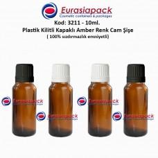 Kilitli Kapaklı Cam Amber İlaç Şişesi 10ml. Kod 3211