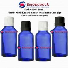 Kilitli Kapaklı Cam Mavi Renk  İlaç Şişesi 20ml. Kod 4020