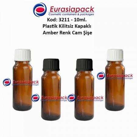 Kilitsiz Kapaklı Cam Amber İlaç Şişesi 10ml. Kod 3211