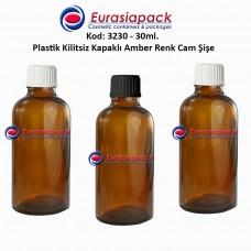Kilitsiz Kapaklı Cam Amber İlaç Şişesi 30ml. Kod 3230