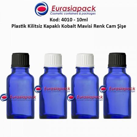 Kilitsiz Kapaklı Cam Mavi Renk  İlaç Şişesi 10ml. Kod 4010