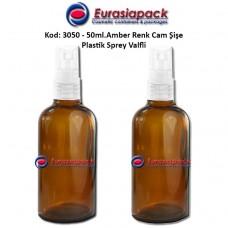 Sprey Valfli İlaç Şişesi 50ml. Amber Renk Kod 3050