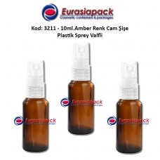 Sprey Valfli İlaç Şişesi 10ml. Amber Renk Kod 3211
