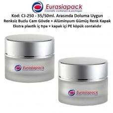 Krem Kavanozu Buzlu Cam Gövde Gümüş Rengi Kapaklı 35/50 gr CJ-250