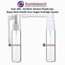 Ağız Spreyli Plastik Şişe Kod: 406 25/30ml.