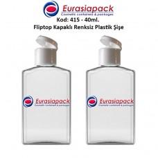 Fliptop Kapaklı Plastik Şişe 40ml Kod 415